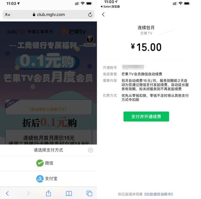 工行卡0.1元购买芒果TV月会员 第二张图